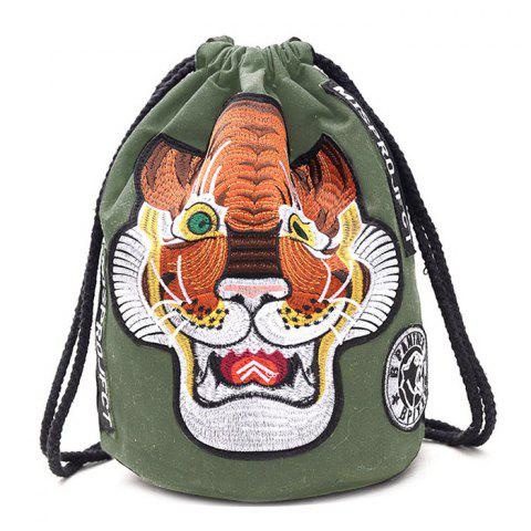 Best Tiger Embroidery String Canvas Backpack