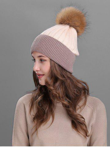 Chic Vintage Fuzzy Ball Embellished Slouchy Beanie - BEIGE  Mobile