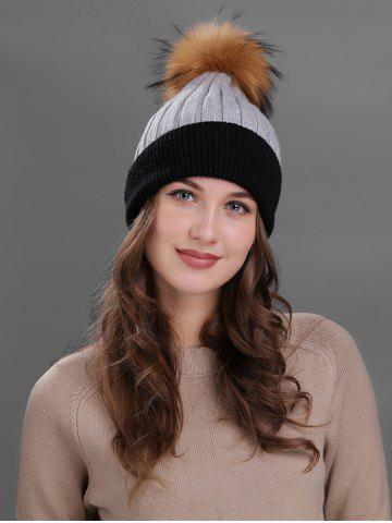 Sale Vintage Fuzzy Ball Embellished Slouchy Beanie - GRAY  Mobile