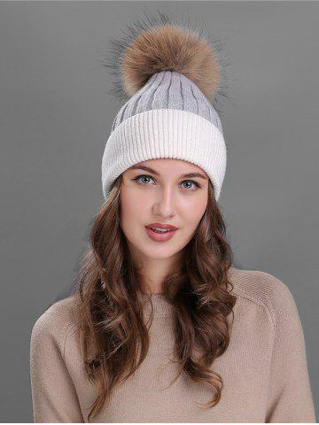 Online Vintage Fuzzy Ball Embellished Slouchy Beanie - GREY AND WHITE  Mobile