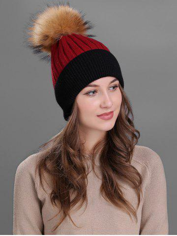 Chic Vintage Fuzzy Ball Embellished Slouchy Beanie RED
