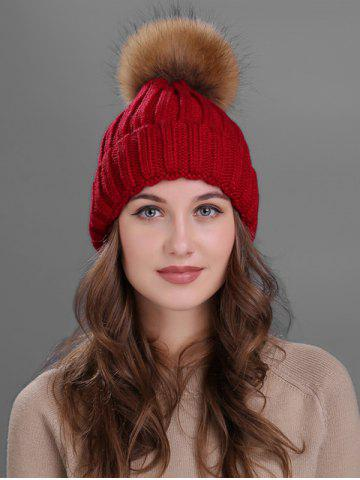 Shops Outdoor Flanging Fur Pom Ball Knited Beanie WINE RED