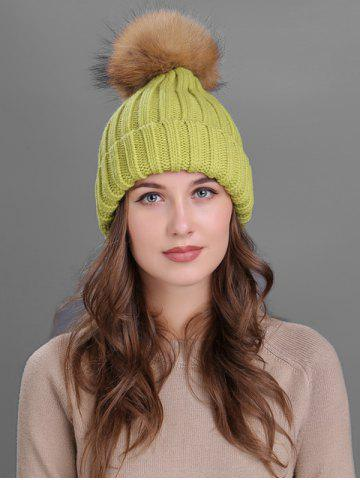 Store Outdoor Flanging Fur Pom Ball Knited Beanie
