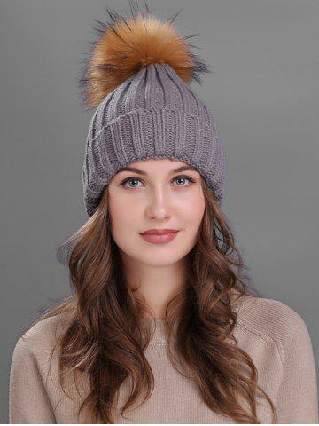Unique Outdoor Flanging Fur Pom Ball Knited Beanie