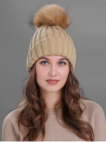 Shops Outdoor Flanging Fur Pom Ball Knited Beanie - KHAKI  Mobile