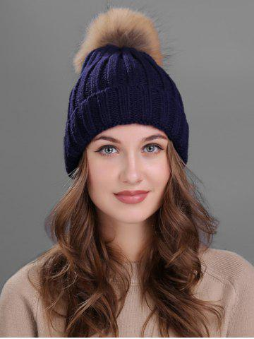 New Outdoor Flanging Fur Pom Ball Knited Beanie