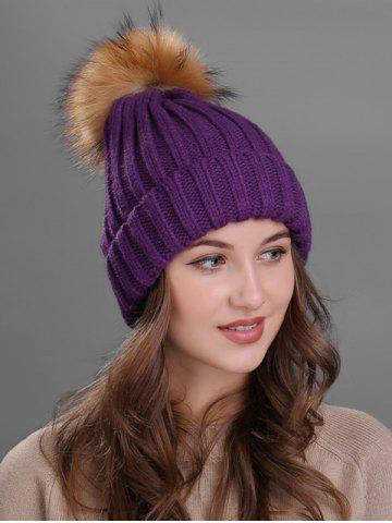 Fashion Outdoor Flanging Fur Pom Ball Knited Beanie