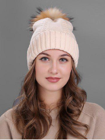 Hot Vintage Fuzzy Ball Embellished Flanging Knitted Beanie BEIGE