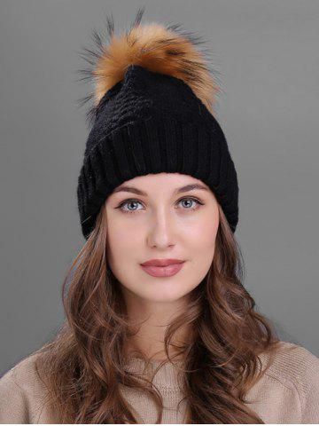 Discount Vintage Fuzzy Ball Embellished Flanging Knitted Beanie BLACK