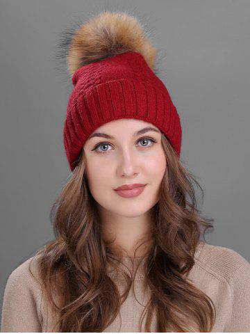 New Vintage Fuzzy Ball Embellished Flanging Knitted Beanie - BURGUNDY  Mobile
