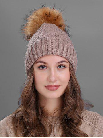 Sale Vintage Fuzzy Ball Embellished Flanging Knitted Beanie - KHAKI  Mobile