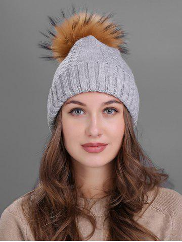 Latest Vintage Fuzzy Ball Embellished Flanging Knitted Beanie LIGHT GRAY