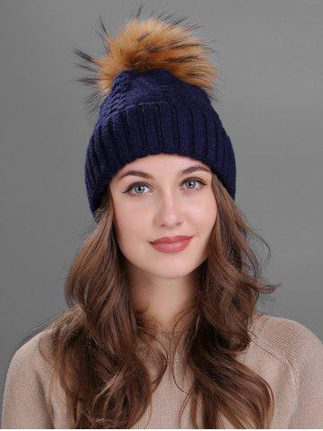 New Vintage Fuzzy Ball Embellished Flanging Knitted Beanie
