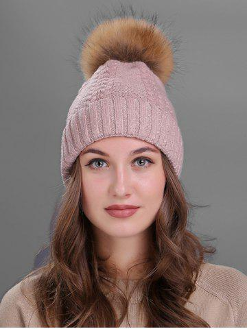 Shop Vintage Fuzzy Ball Embellished Flanging Knitted Beanie - PINK  Mobile