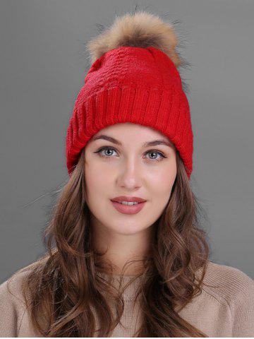 Online Vintage Fuzzy Ball Embellished Flanging Knitted Beanie