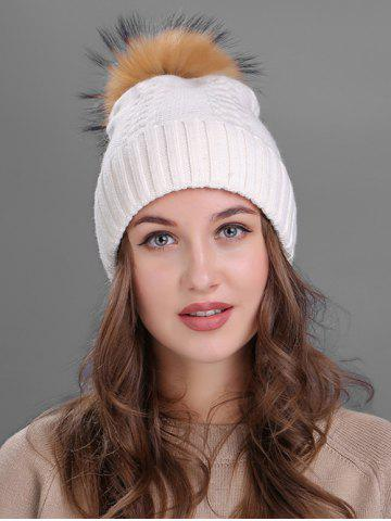 Affordable Vintage Fuzzy Ball Embellished Flanging Knitted Beanie