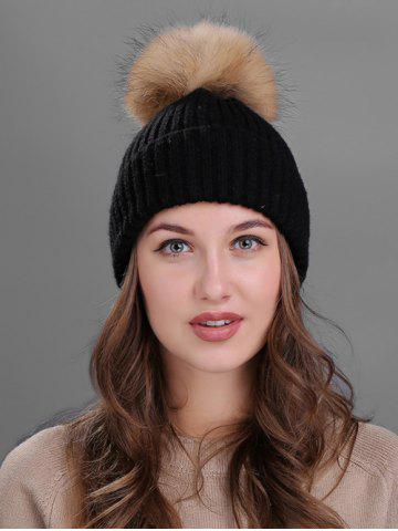 Best Outdoor Crochet Flanging Pom Ball Knitting Beanie BLACK