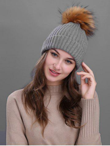 Latest Outdoor Crochet Flanging Pom Ball Knitting Beanie DEEP GRAY