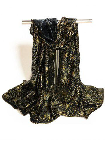 Fashion Gilding Decorated Halloween Scarf - BLACK + GOLDEN  Mobile