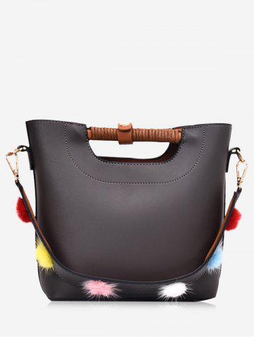 Trendy Pompom PU Leather Handbag