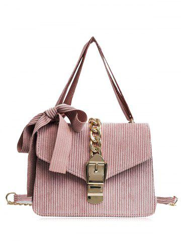 New Chain Buckle Strap Bow Crossbody Bag - PINK  Mobile