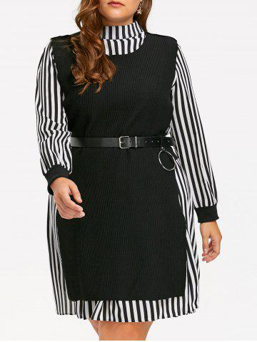 Plus Size Stripe Shirt Dress et Slit Knit Vest Noir 5XL