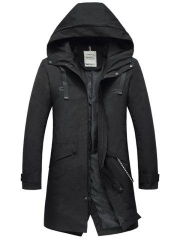 Chic Zip Up Multi Pockets Hooded Trench Coat BLACK L