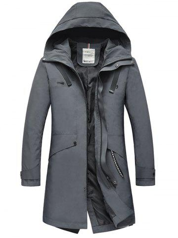 Online Zip Up Multi Pockets Hooded Trench Coat - 3XL DEEP GRAY Mobile