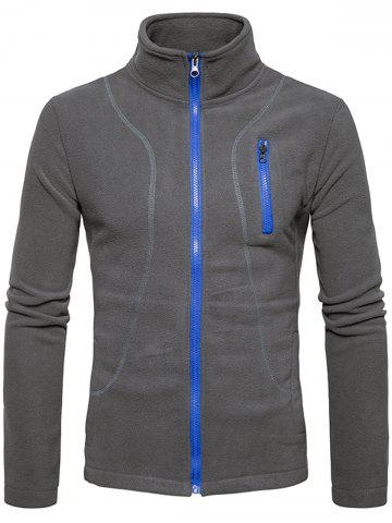 Sale Stand Collar Suture Fleece Zip Up Jacket - L GRAY Mobile