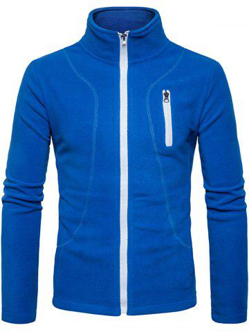 New Stand Collar Suture Fleece Zip Up Jacket - XL BLUE Mobile