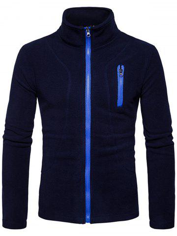 Affordable Stand Collar Suture Fleece Zip Up Jacket - S CADETBLUE Mobile