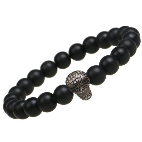 Fancy Skull Shape Strand Beads Bracelet BLACK