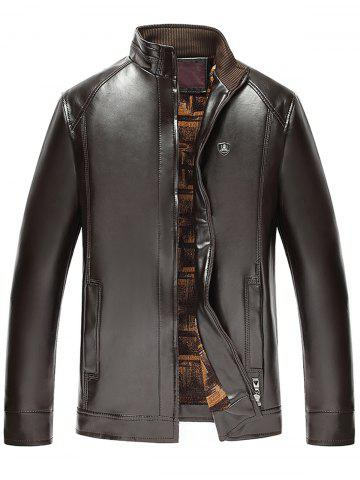 Stand col Zip Up Faux cuir veste Espresso 4XL