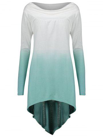 Best Ombre Plus Size High Low Sweatshirt - 2XL LAKE GREEN Mobile