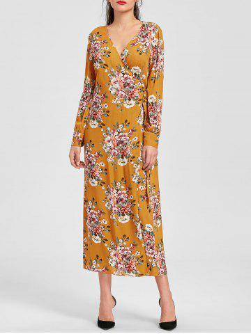 Online Floral Print Long Sleeve Maxi Wrap Dress - 2XL EARTHY Mobile