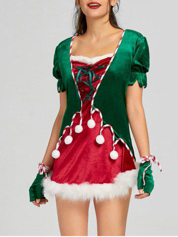 Discount Christmas Lace Up Short Dress with Hat and Gloves - M RED Mobile