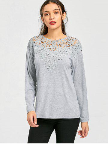 Lace Panel Cutwork Marled Top