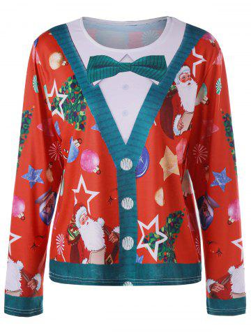 Outfits Plus Size Christmas Santa Claus Long Sleeve Top - XL RED Mobile