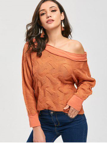 Fashion Slouchy Skew Neck Chunky Sweater - ONE SIZE ORANGE Mobile
