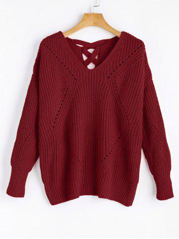 Unique V Neck Criss Cross Sheer Sweater - ONE SIZE WINE RED Mobile