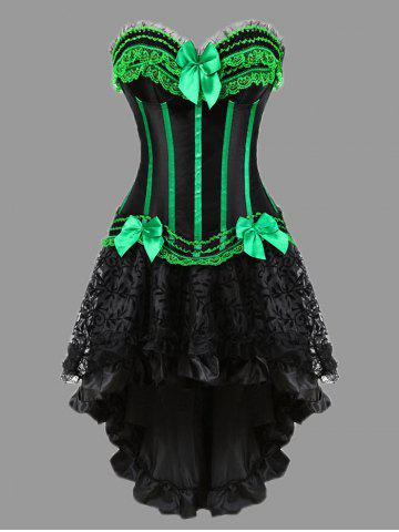 Outfit Two Piece Flounce Plus Size Corset Dress - GREEN 5XL Mobile