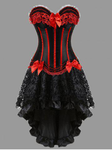 Online Two Piece Flounce Plus Size Corset Dress