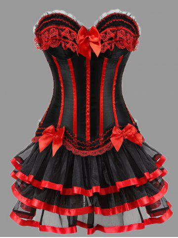 Best Two Piece Plus Size Ruffles Corset Dress - RED 4XL Mobile