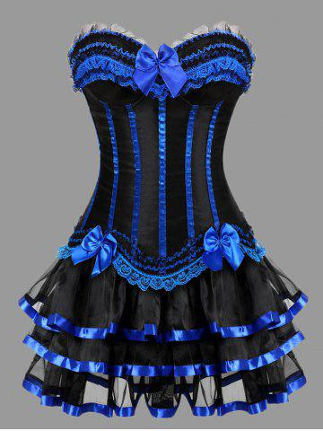 Best Two Piece Plus Size Ruffles Corset Dress - BLUE 5XL Mobile