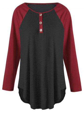 Fancy Plus Size Two Tone Raglan Sleeve Top with Buttons