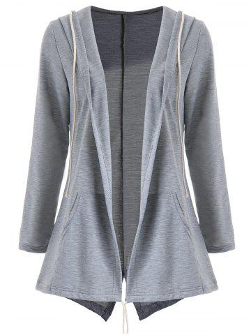 Hot Drawstring Hooded Slit Open Front Coat