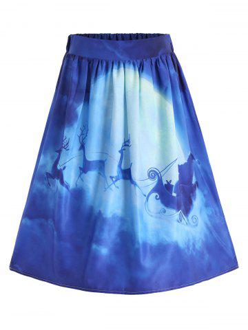 Latest Ugly Christmas Elk Santa Claus A Line Skirt