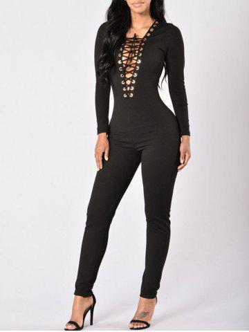 Outfits Plunge Lace-up Bodycon Jumpsuit
