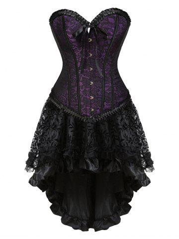 Outfit Lace-up Flounce Two Piece Corset Dress