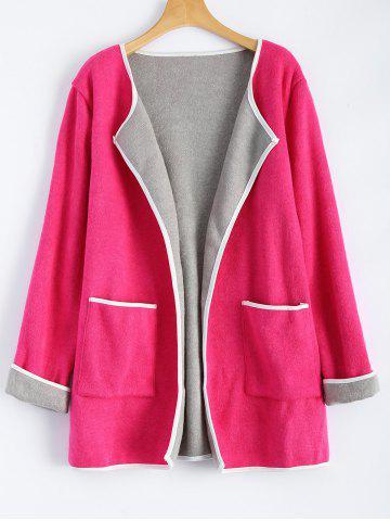 New Wool Blend Open Front Coat with Pockets